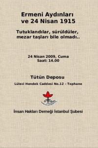 Ermeni Aydınları ve 24 Nisan 1915 Etkinliği Afişi – İHD İstanbul Şubesi