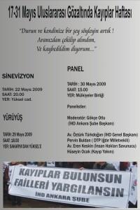 İHD Ankara Şubesi – 17/31 Mayıs Kayıplar Haftası Etkinlikleri Afişi