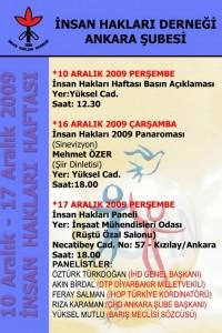 İHD Ankara Şubesi 10-17 Aralık 2009 İnsan Hakları Haftası Afişi