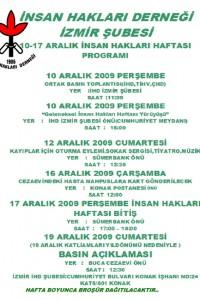 İHD İzmir Şubesi 10-17 Aralık 2009 İnsan Hakları Haftası Afişi