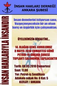 İHD Ankara Şubesi 14. Olağan Genel Kurul Afişi