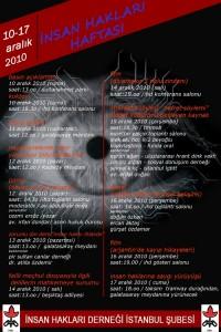 İHD İstanbul Şubesi – 10-17 Aralık 2010 İnsan Hakları Haftası Programı