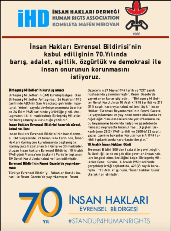 10 Aralık İnsan Hakları Haftası (2018) Bildirisi